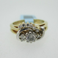 14k Yellow Gold Approx .25ct Round Brilliant Cut Diamond Wedding Ring with Band Size 4 3/4