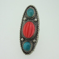 Sterling Silver Large Oval Turquoise Coral Ring Size 8