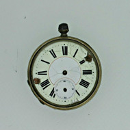 Antique Swiss Cylindre Quatre Rubis Silver Tone Pocket Watch Parts As Is (B4938)