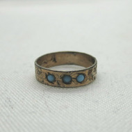 Vintage Gold Filled Etched Baby Child Band Ring with Blue Glass Stones Size 1.5
