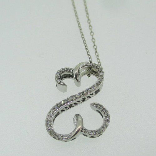 10k White Gold Approx .25ct TW Double Heart Necklace