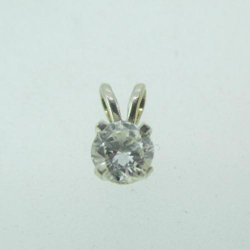 14k White Gold Approx .20ct TW Round Brilliant Cut Diamond Pendant