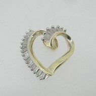 14k Yellow Gold Approx .50ct TW Baguette Cut Diamond Heart Pendant
