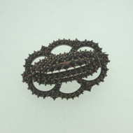 Vintage Gold Tone Ornate Czech Garnet Pave Pin Brooch Unmarked