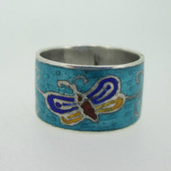 Sterling Silver Butterfly Enamel Cigar Band Ring Size 6