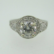 14k White Gold .92ct Round Brilliant Cut Diamond with Diamond Halo Accents Size 6 1/2