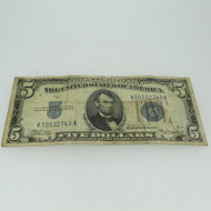 1934 A Silver Certificate United States 5 Dollar Bill Five Dollar Note 600690