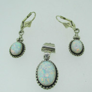 Sterling Silver Created Opal Pendant Lever Back Earring Set