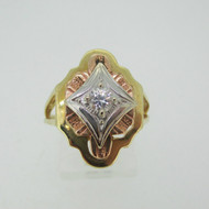 Vintage 14k Yellow Rose and White Gold with Diamond Accents Size 7 1/2