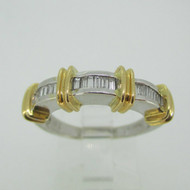 Natalie K 18k White Gold Diamond Band with Yellow Gold Accents Size 8