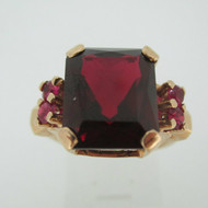 Vintage 1800's 14k Rose Gold Red Stone Ring Size 6 3/4