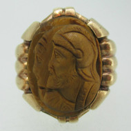 Vintage 10k Yellow Gold Tigers Eye Intaglio Knights Cameo Ring Size 11
