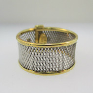 Platinum and 18k Yellow Gold Belt Style Band Ring Size 5.5