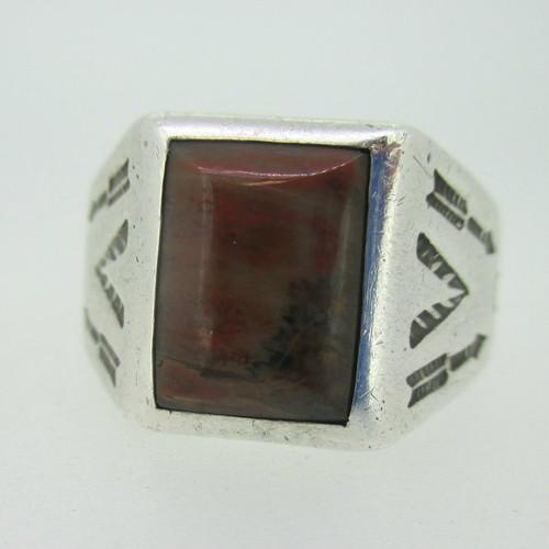 Sterling Silver Brecciated Jasper Arrow Ring Size 11