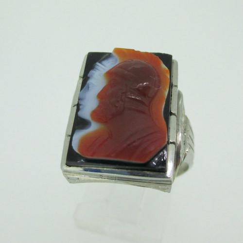 10k White Gold Black Onyx Intaglio Ring Size 9 1/2