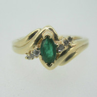 14k Yellow Gold Emerald Ring with Diamond Accents Size 6 1/4