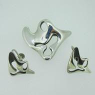 Sterling Silver Denmark Georg Jensen Pin Brooch Earring Set