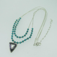Sterling Silver Carolyn Pollack Turquoise String Necklace with Enhancer