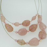 Joan Rivers Gold Tone Wire Wrapped Pink Stone Necklace