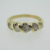 14k Yellow Gold Approx .33ct TW Round Brilliant Cut Diamond Band Ring Size 8
