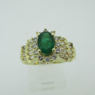 14k Yellow Gold Emerald Ring with Approx .60ct TW Diamond Accents Size 7 1/4