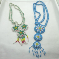 Lot of 2 Handmade Bright Multi Color Seed Beaded Southwestern Tribal Necklaces