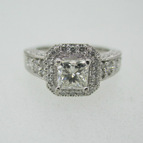 14k White Gold .50ct Princess Cut Diamond Ring with Diamond Halo Accents Size 4 1/2