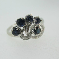Vintage 10k White Gold Sapphire Ring with Diamond Accents Size 7 3/4