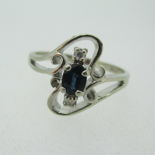 10k White Gold Sapphire Ring with Diamond Accents Size 8 1/4