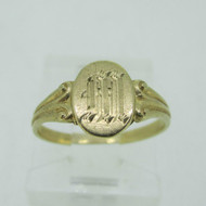 10k Gold Tru Art Etched M Signet Pinky Baby Ring Size 2 1/4