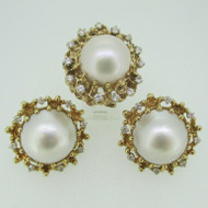 14k Yellow Gold Pearl and Approx 3.0ct TW Round Brilliant Cut Diamond Earring Ring Set Size 5 1/4