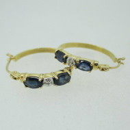 14k Yellow Gold Sapphire with Diamond Accents Hoop Earrings