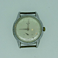 Vintage Elgin 687 17J Shockmaster Silver Tone Watch Case Movement and Dial Parts Steampunk (B6347)