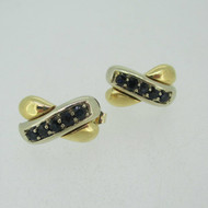 14k Yellow and White Gold Two Tone Sapphire Stud Earrings