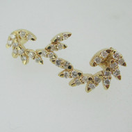 14k Yellow Gold Approx .50ct TW Diamond Stud Earring Leaf Style