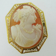 Vintage 10k Yellow Gold Conch Shell Carved Cameo Pendant Brooch Pin