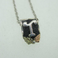 Sterling Silver & 12K Black Hills Gold Initial T Necklace