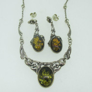 Sterling Silver Necklace and Earring Amber Set