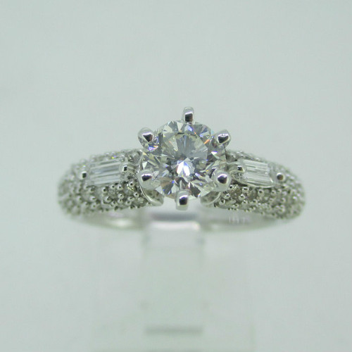 14k White Gold .73ct Round Brilliant Cut Diamond Ring with Diamond Accents Size 6 3/4