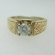 14k Yellow Gold .60ct Round Brilliant Cut Diamond Ring with Horseshoe Ring Size 6 1/4