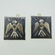 Vintage Repousee Sterling Silver Spirit Dove Cuff Link By Creed