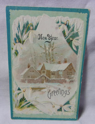 New Year Greetings Antique Embossed Postcard
