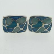 Silver Tone Blue Enamel Swirl Stone Design Inlay Cufflinks
