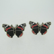 Silver Tone Red and Black Enamel Butterfly Cufflinks