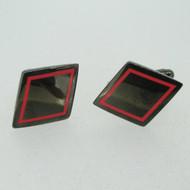 Black Rhombus Shape Red Enamel Outlined Cufflinks