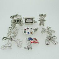 9 Silver Tone Monet Charms Pendants Lot