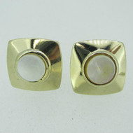 Gold Tone Square with Mother of Pearl Cufflinks