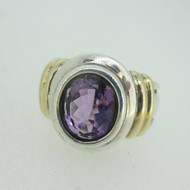 Sterling Silver & 14K Accent Amethyst Oval Ring Size 7