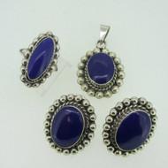 Sterling Silver Southwest Blue Enamel Pendant Earring Ring Set