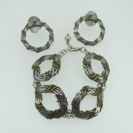 Sterling Silver Marjorie Baer Bronze Copper Accent Bracelet Earring Set